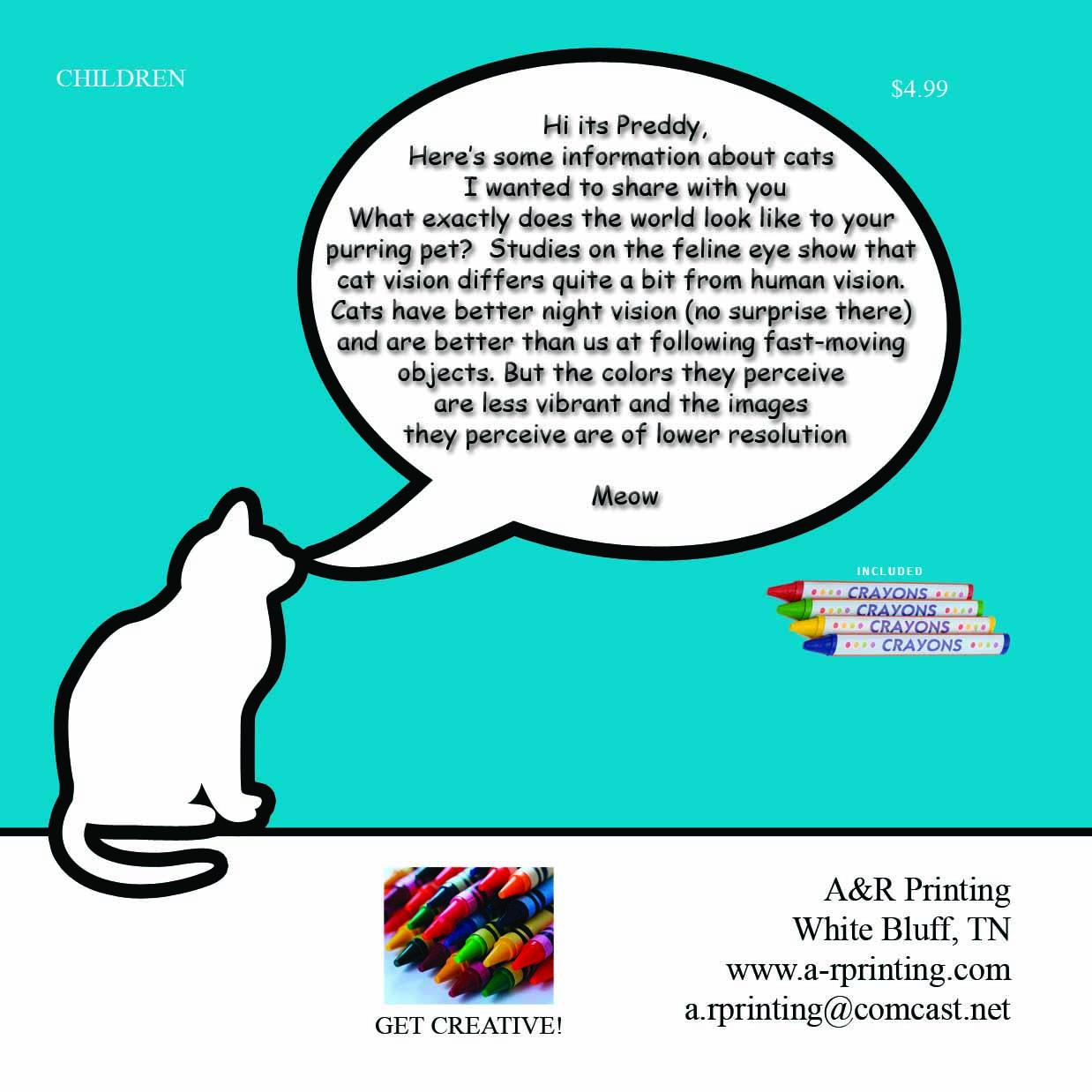 A Fun Coloring And Story Book About Preddy The Cat With Comments For