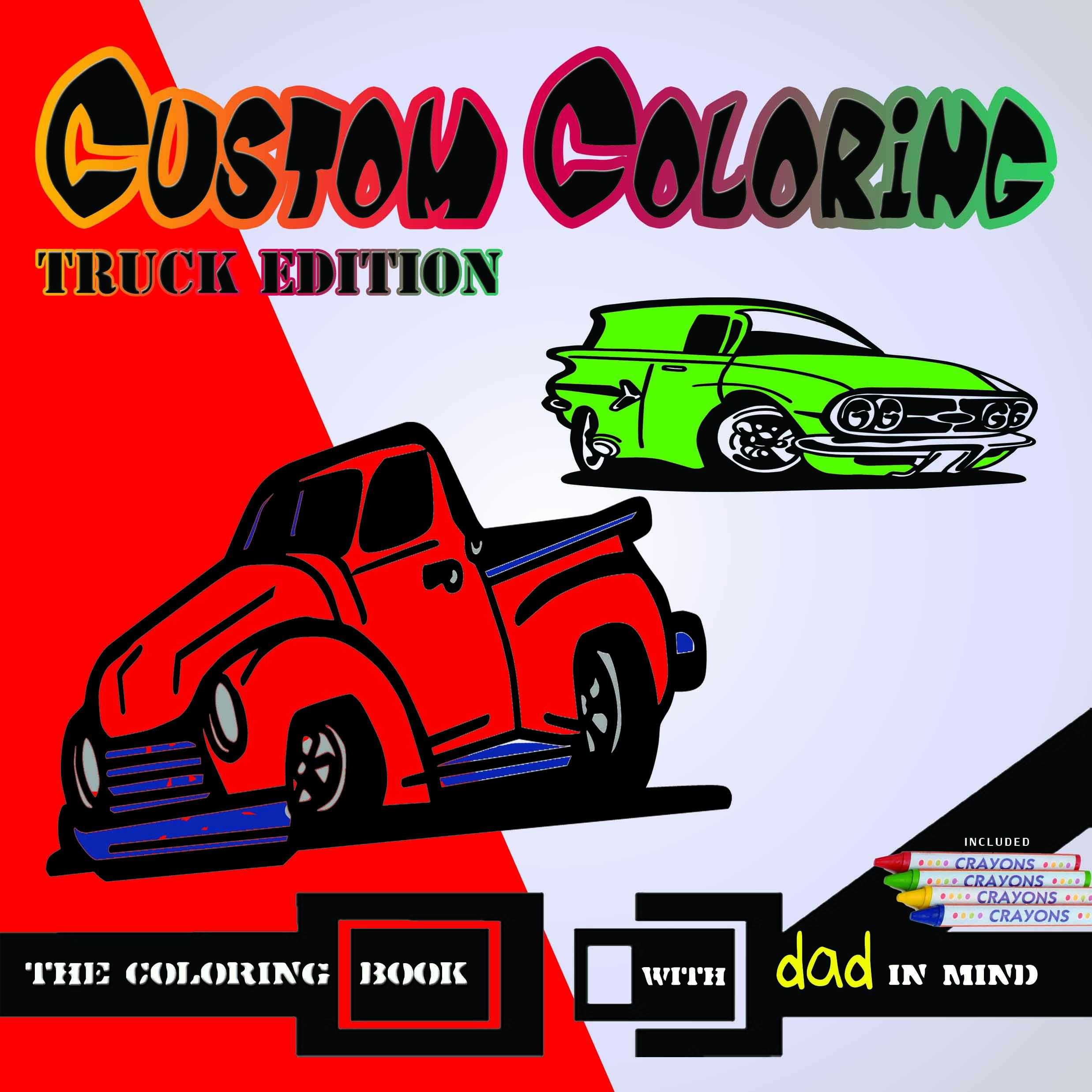 coloring fun with trucks from the early 1900s custom clipart and crayons included make this - Custom Coloring Book